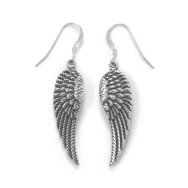 Sterling silver Angel Wing French Wire Earrings - deelytes-com