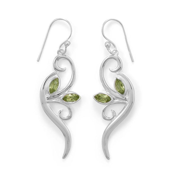 Peridot Leaf and Branch Earrings - deelytes-com