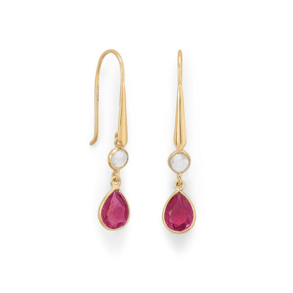 14 Karat Gold Plated Rainbow Moonstone and Pink Glass Drop Earrings - deelytes-com