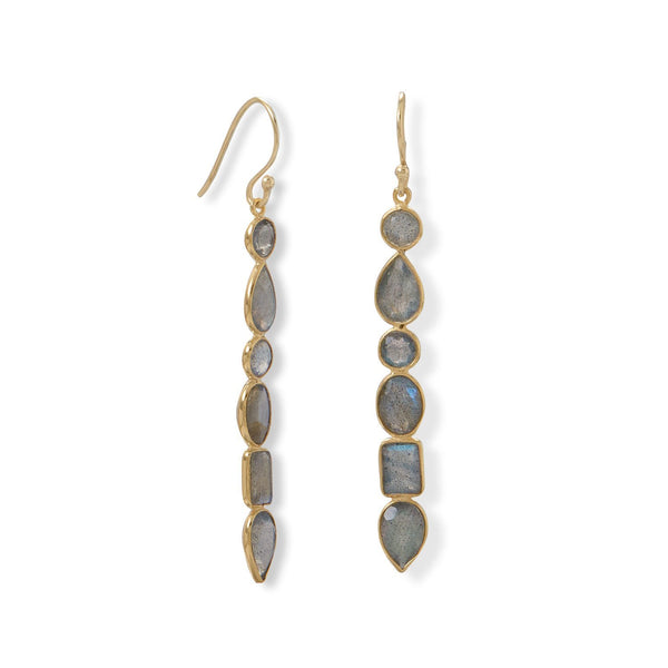 14 Karat Gold Multi Shape Labradorite Earrings - deelytes-com