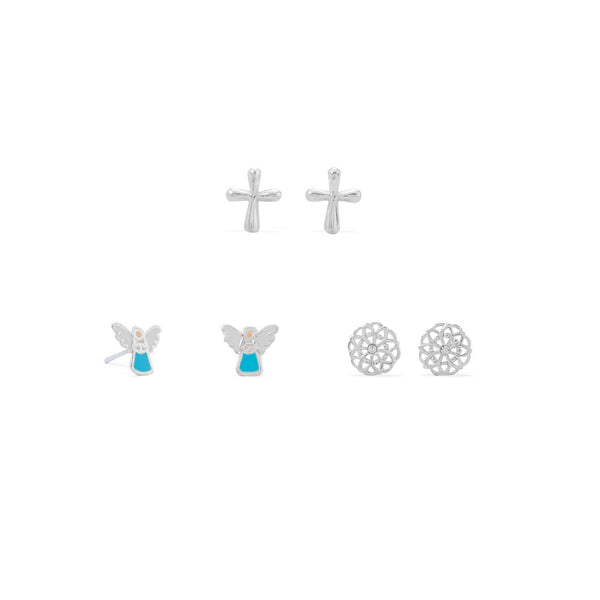 Angel, Flower and Cross Earring Set - deelytes-com
