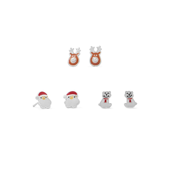 Santa, Reindeer and Polar Bear Earring Set - deelytes-com