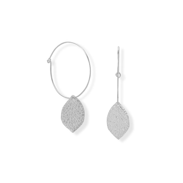 Hoop with Leaf Drop Earrings - deelytes-com