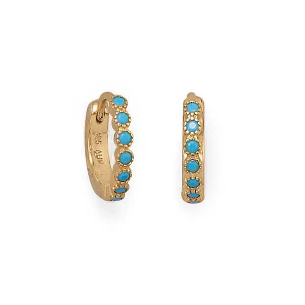 14 Karat Gold Turquoise CZ Hoop Earrings - deelytes-com