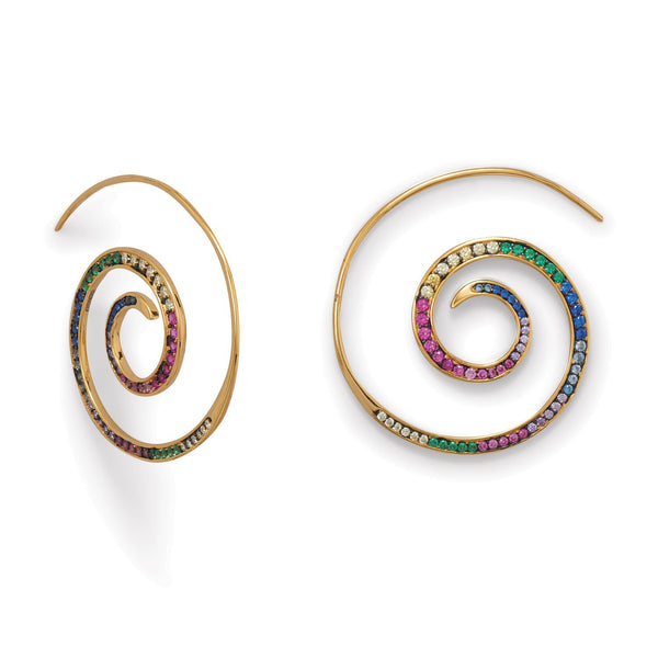 Hypnotic Multi Color CZ Spiral ER - deelytes-com