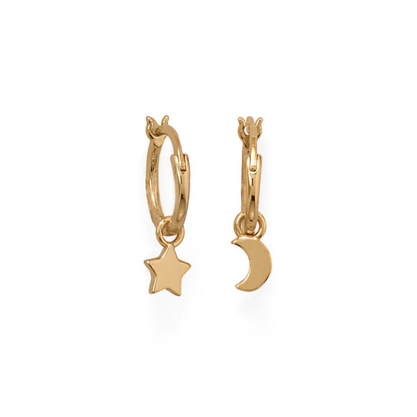 14 Karat Gold Moon and Star Charm Hoop Earrings - deelytes-com
