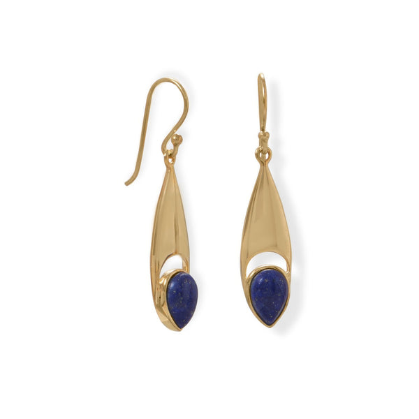 14 Karat Gold Pear Shaped Lapis Earrings - deelytes-com