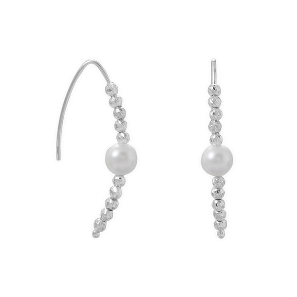 Diamond Cut Bead and Pearl Wire Earrings - deelytes-com
