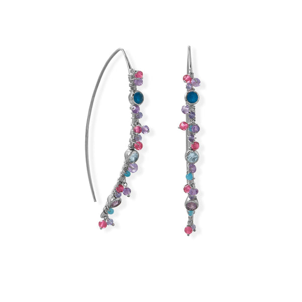 Sterling Silver Multicolor Stones Marquis Wire Earrings