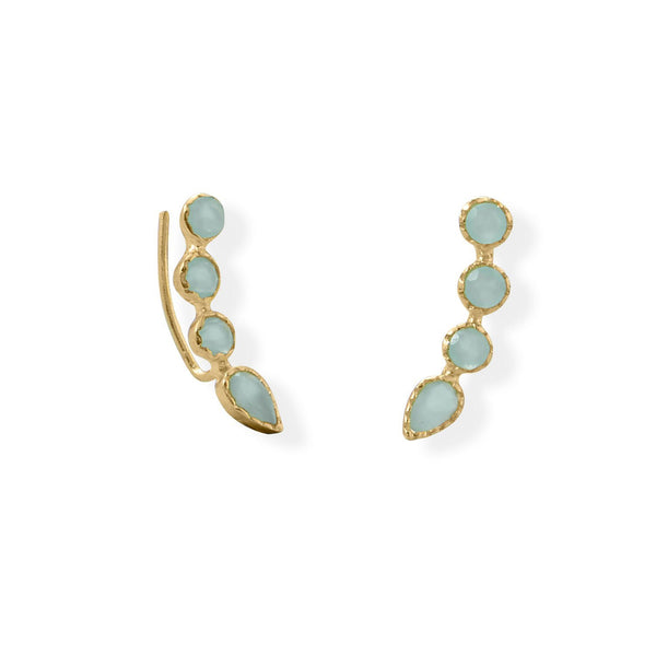 14 Karat Gold Plated Aqua Blue Chalcedony Ear Climber Earrings