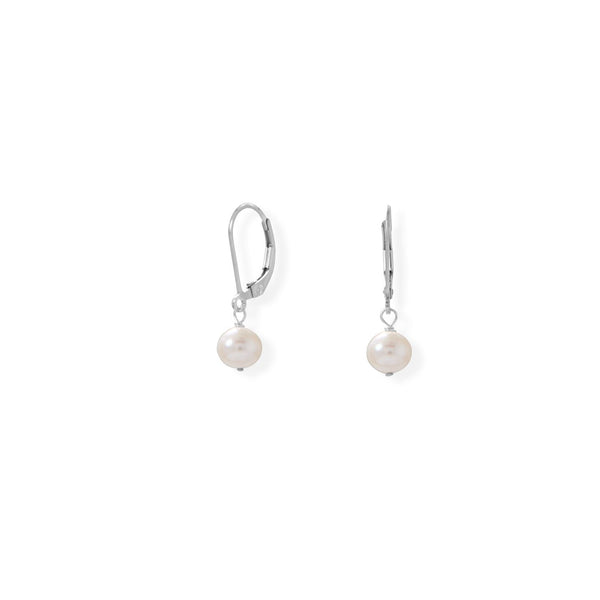 Sterling Silver 6.5mm Freshwater Pearl Lever Earrings - deelytes-com