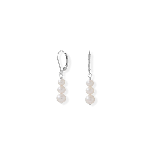 Sterling Silver Stacked Freshwater Pearl Lever Earrings