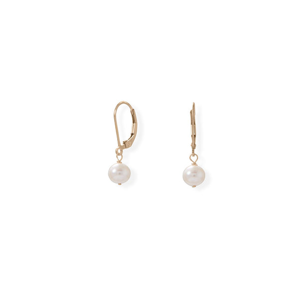 14K Gold-Filled 6.5mm Freshwater Pearl Lever Earrings - deelytes-com