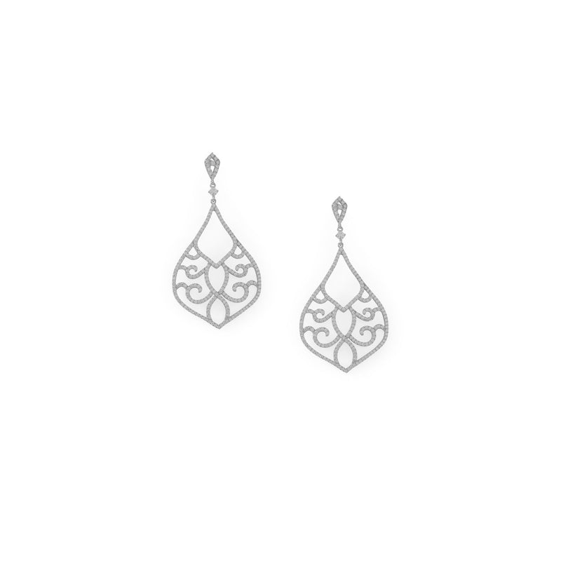 Sterling Silver Ornate CZ Raindrop Post Earrings