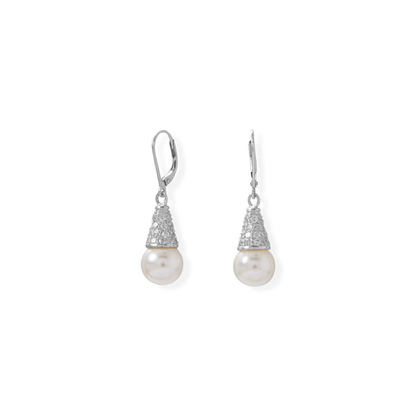 Sterling Slver Simulated Pearl and Pave CZ Cone Lever Earrings