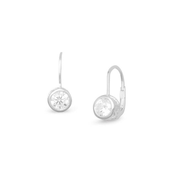 6mm Bezel CZ Sterling Silver Lever-Back Earrings - deelytes-com
