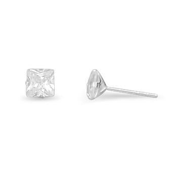 Square CZ Sterling Silver Stud Earrings - deelytes-com
