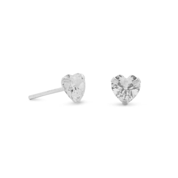 CZ Heart Sterling Silver Stud Earrings - deelytes-com