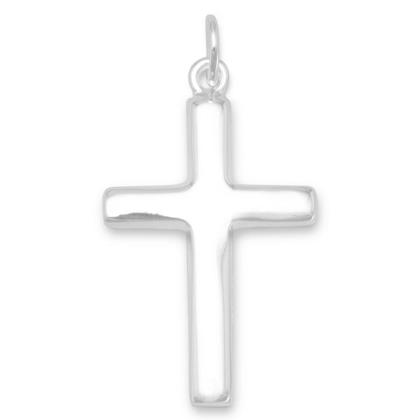Sterling Silver Plain Polished Cross Pendant - deelytes-com