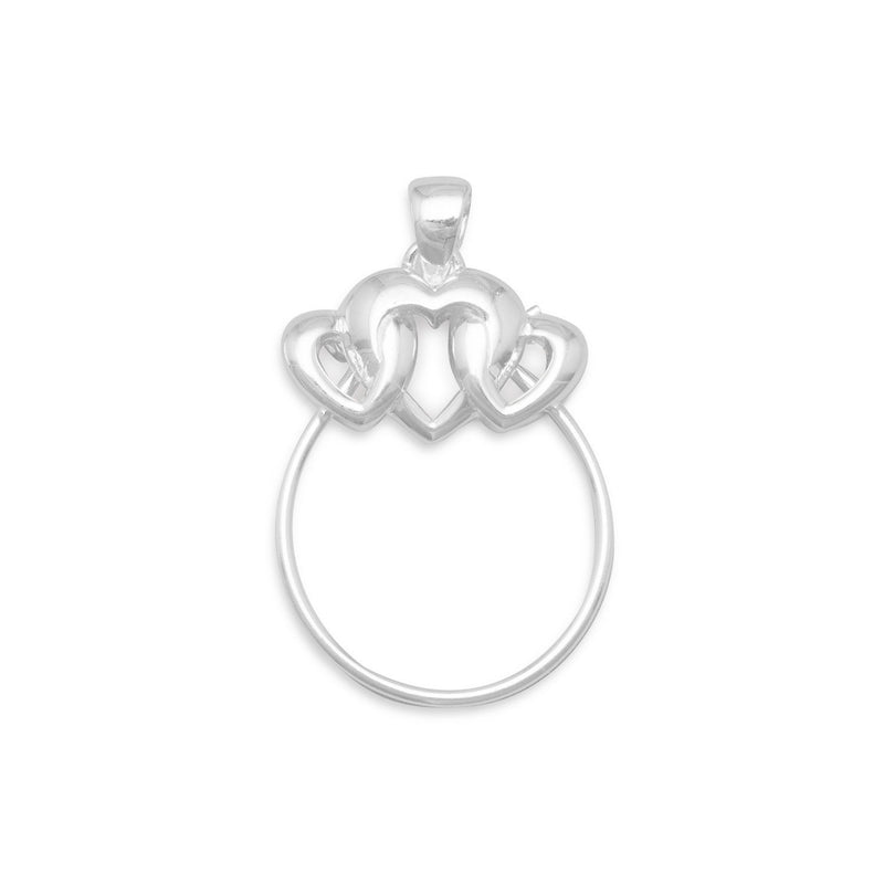 3 Heart Charm Holder Pendant Sterling Silver - deelytes-com