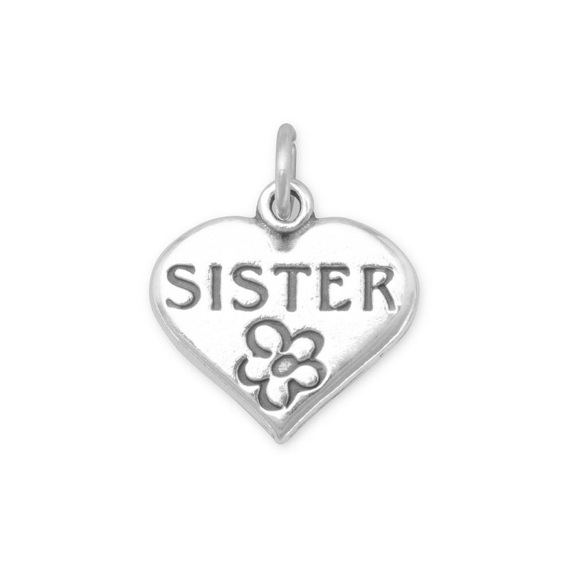 SISTER in Heart Sterling Silver Charm - deelytes-com