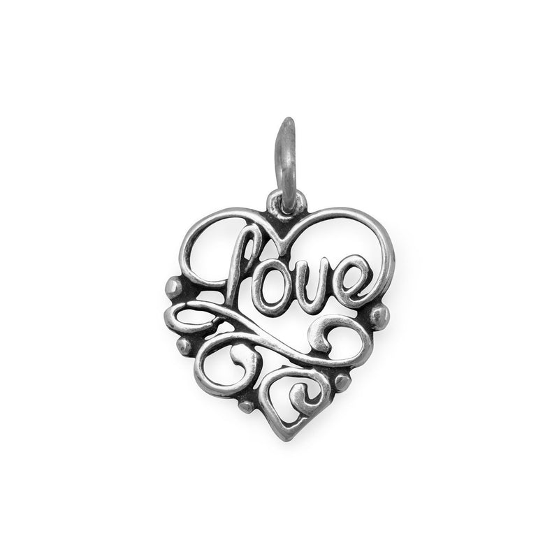Love Heart Sterling Silver Charm - deelytes-com