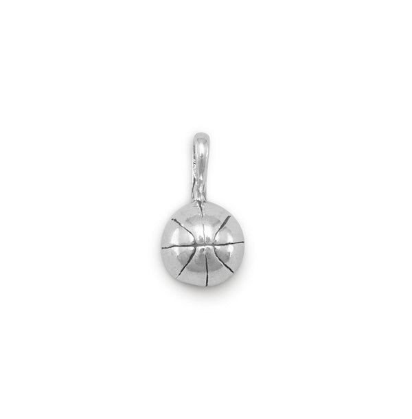 Small 3D Basketball Sterling Silver Charm - deelytes-com