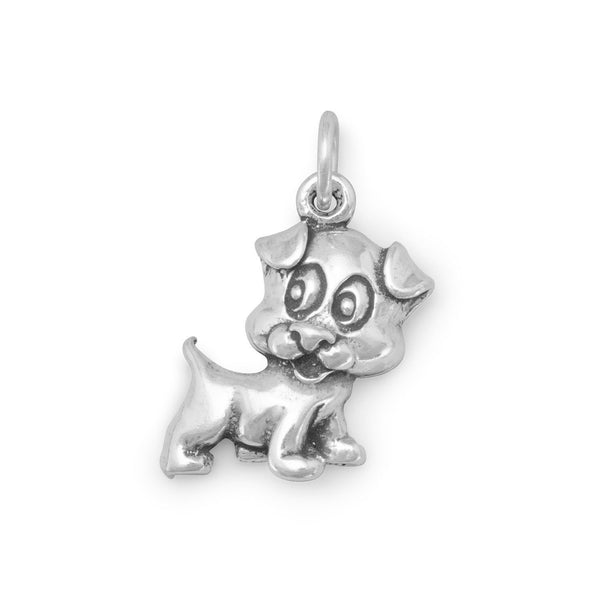 Puppy Dog Sterling Silver Charm - deelytes-com