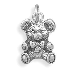 Antique Teddy Bear Charm Sterling Silver - deelytes-com