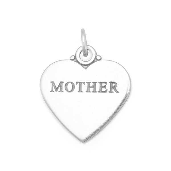 """MOTHER"" Sterling Silver Heart Charm - deelytes-com"