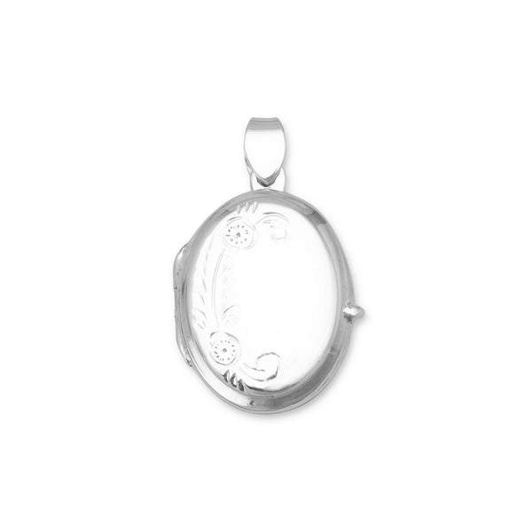 Small Polished Sterling Silver Floral Design Oval Picture Locket - deelytes-com