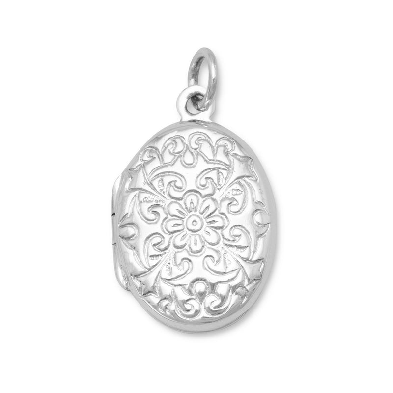 Oval Sterling Silver Polished Floral Design Locket - deelytes-com
