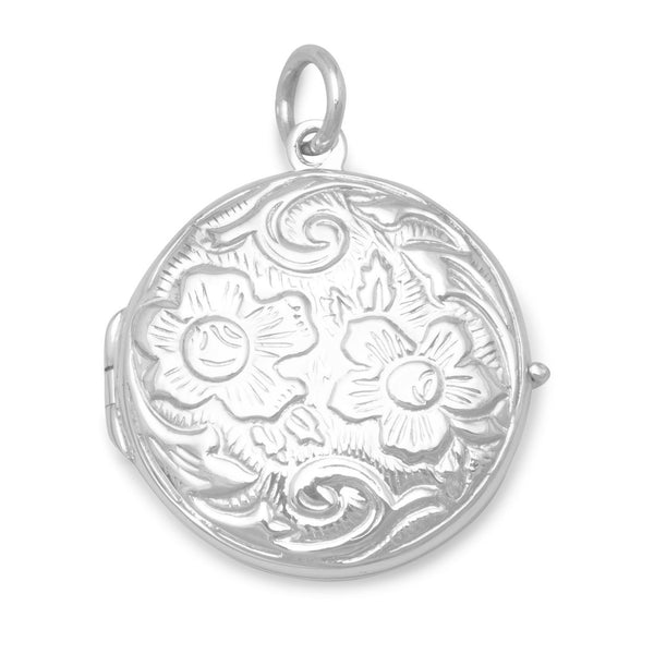 Round Lotus Flower Floral Design Locket - deelytes-com