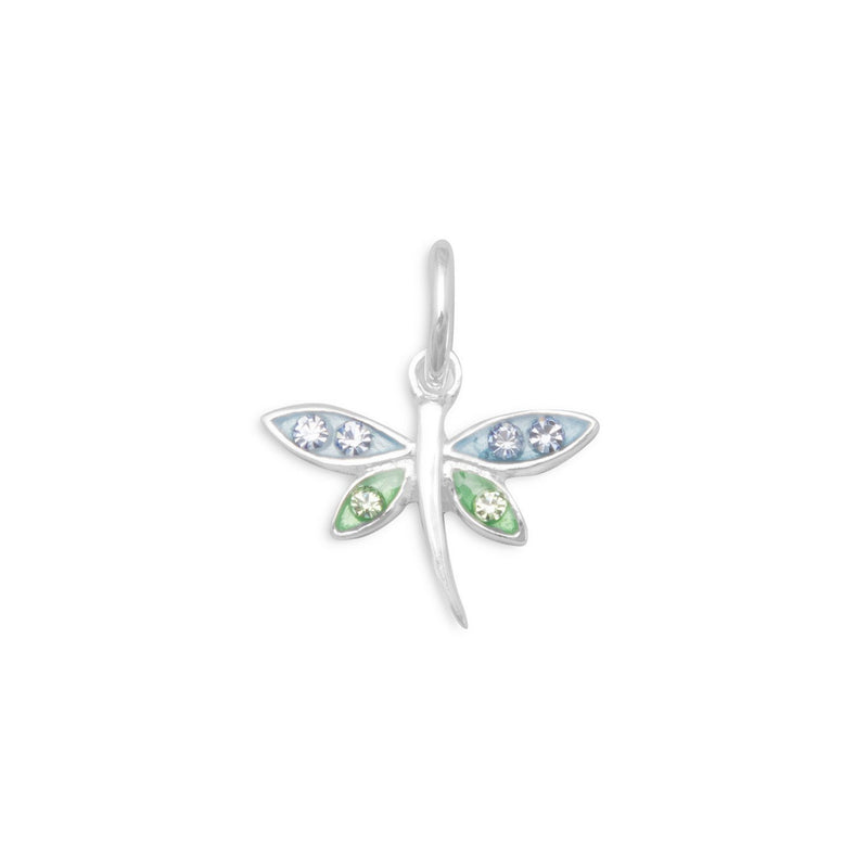 Dragonfly Sterling Silver Charm with Crystals Sterling Silver - deelytes-com