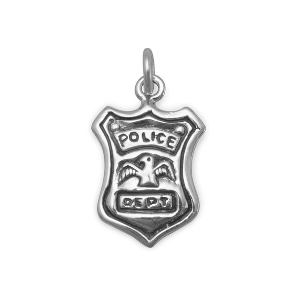 Police Shield Sterling Silver Charm - deelytes-com