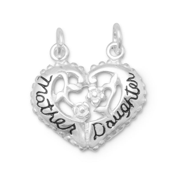 Heart Shaped Mother/Daughter Break-Away Charm Sterling Silver - deelytes-com