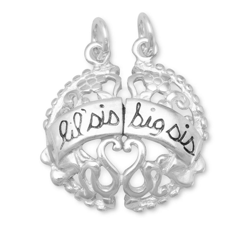 Lil Sis and Big Sis Break-Away Charm Sterling Silver - deelytes-com