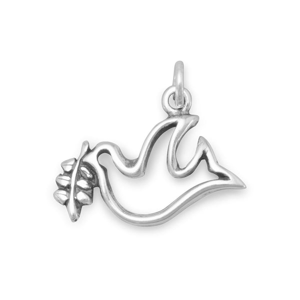 Dove with Olive Branch Sterling Silver Charm - deelytes-com