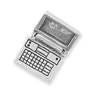 Movable Laptop Computer Sterling Silver Charm - deelytes-com