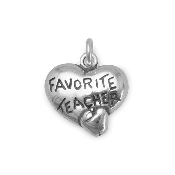 Heart Charm with Favorite Teacher and Apple Sterling Silver - deelytes-com