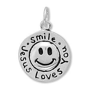 Smile Jesus Loves You Charm Sterling Silver - deelytes-com
