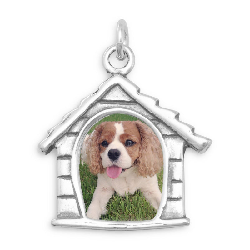 Dog House Picture Frame Charm Sterling Silver - deelytes-com