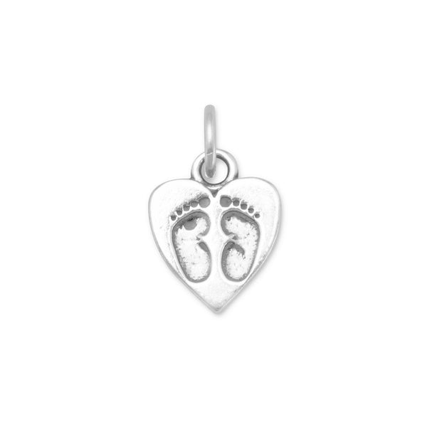 Heart Charm with Baby Footprints Sterling Silver - deelytes-com