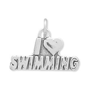 I Love Swimming Sterling Silver Charm - deelytes-com