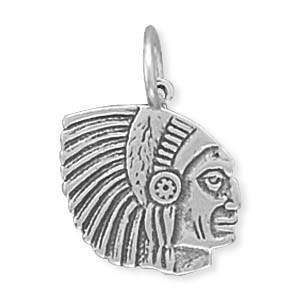 Indian Chief Sterling Silver Charm - deelytes-com