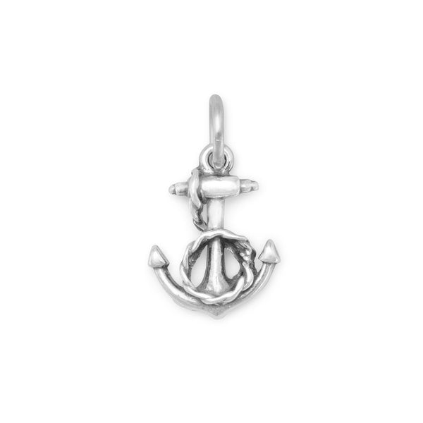 Anchor and Rope Charm Sterling Silver - deelytes-com
