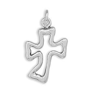 Cut Out Curved Cross Charm Sterling Silver - deelytes-com