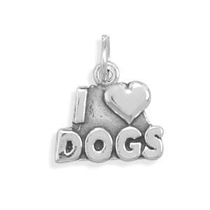 I Love Dogs Sterling Silver Charm - deelytes-com