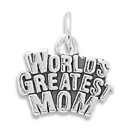World's Greatest Mom Sterling Silver Charm - deelytes-com