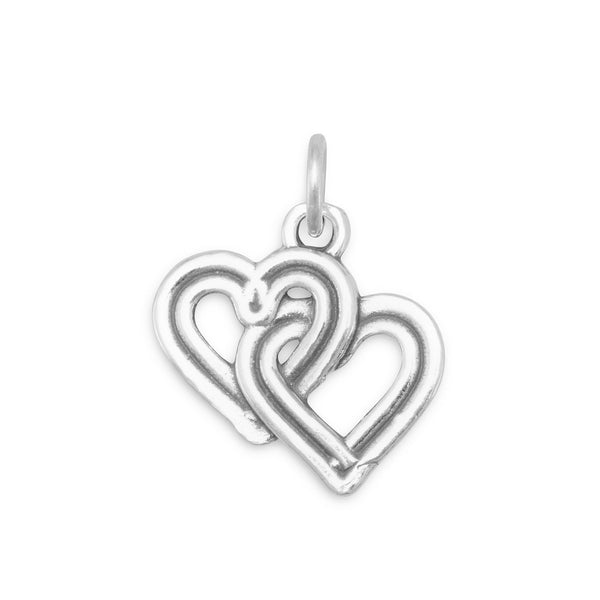 Reversible Interwoven Hearts Sterling Silver Charm - deelytes-com